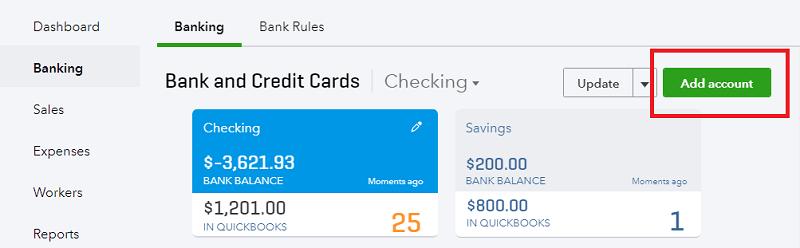 QuickBooks Online Banking Add New Account