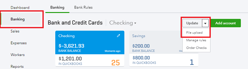 QuickBooks Online Upload CSV