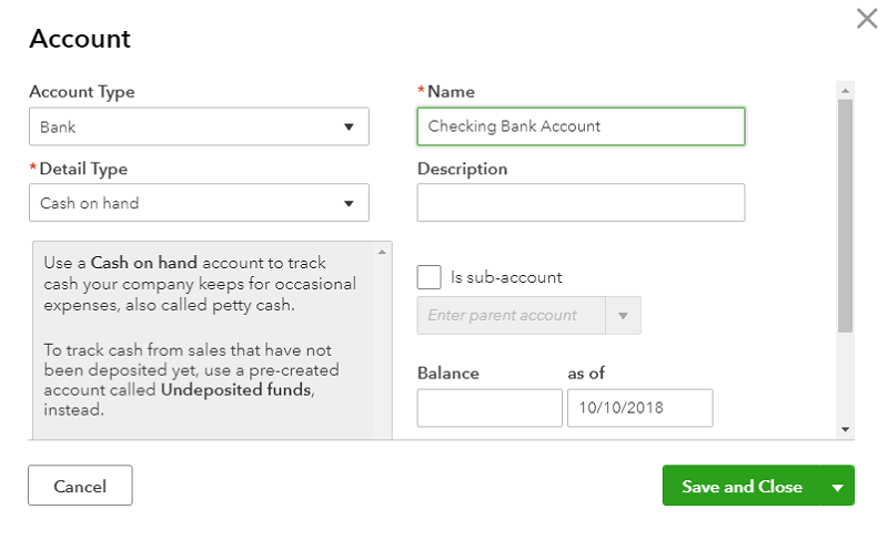 QuickBooks Online new Chart of Accounts Details