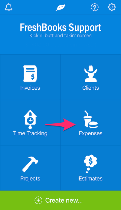 iOS FreshBooks Main Expense Screen