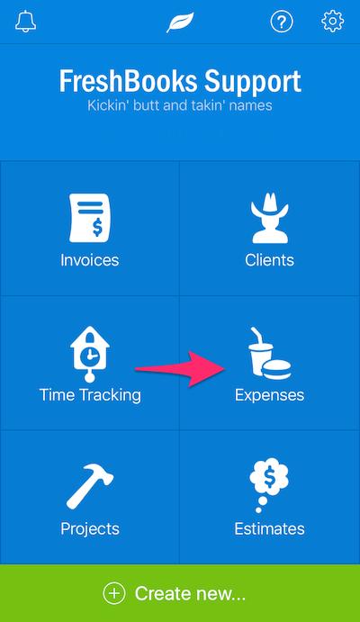iOS FreshBooks Main Expense Screen