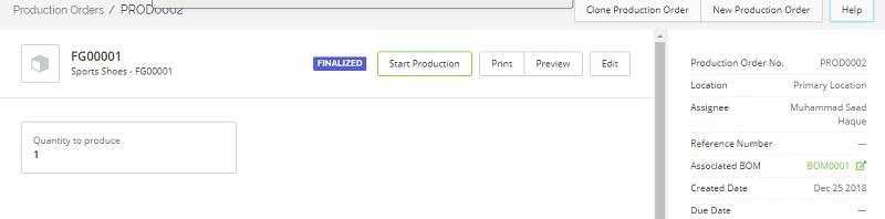 TradeGecko Start Production Order