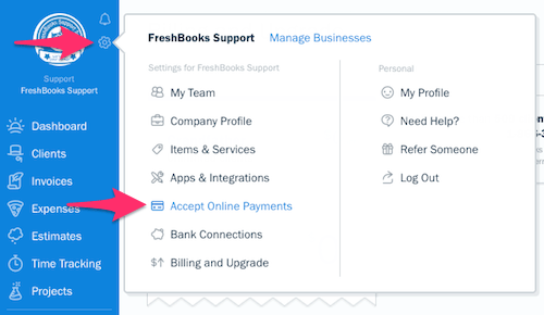 FreshBooks Settings - Gear Icon