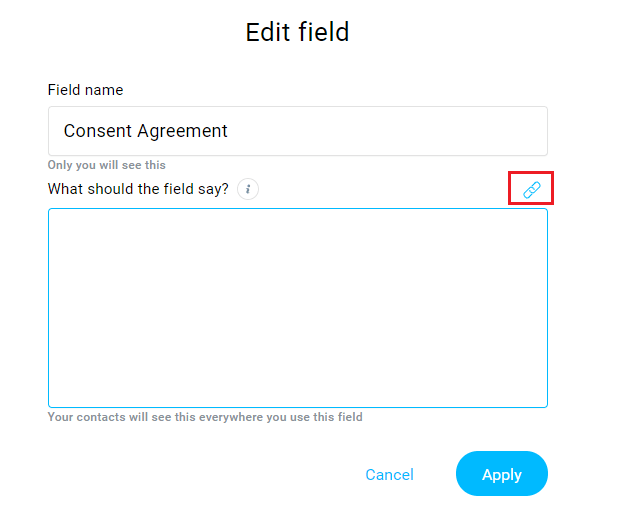 GetResponse Edit Create Consent Field
