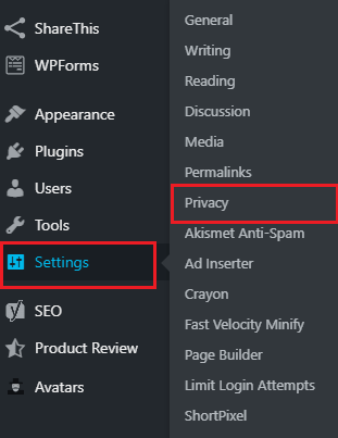 Wordpress Settings Privacy