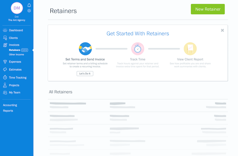 How to create FreshBooks Retainers